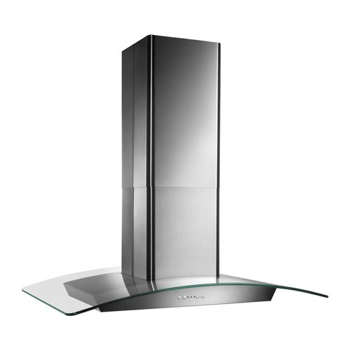 "35-3/8"" X 25-5/8"", Island version, Stainless steel, Curved Glass Canopy, 500 CFM, Electronic control"