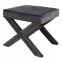 Marguerite Nailhead Stool, Midnight Gray