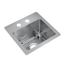 "Elkay Crosstown Stainless Steel 15"" x 15"" x 9"", Single Bowl Dual Mount Bar Sink Kit"