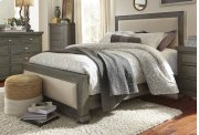 5/0 Queen Upholstered Headboard - Distressed Dark Gray Finish Product Image
