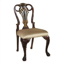 CARVED ANTIQUE MAHOGANY AND BL ACK CHINOISERIE FINISHED SIDE CHAIR, NEUTRAL FABRIC UPH