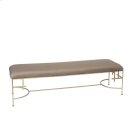 "60""l Hammered Gold Leaf Bench W. Dark Beige Linen Upholstery Product Image"