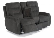 Kerrie Fabric Power Reclining Loveseat with Console