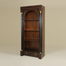 WEBSTER WALNUT AND MATTE BLACK FINISH DISPLAY CABINET, G LASS SHELVES, BRASS ACCENTS