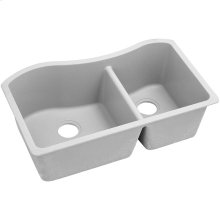 "Elkay Quartz Classic 32-1/2"" x 20"" x 10"", 60/40 Double Bowl Undermount Sink, White"