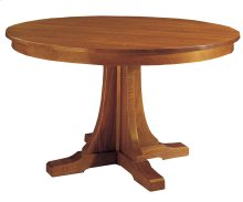 46 Diameter Two Leaves, Oak Round Pedestal Dining Table