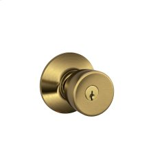 Bell Knob Keyed Entry Lock - Antique Brass