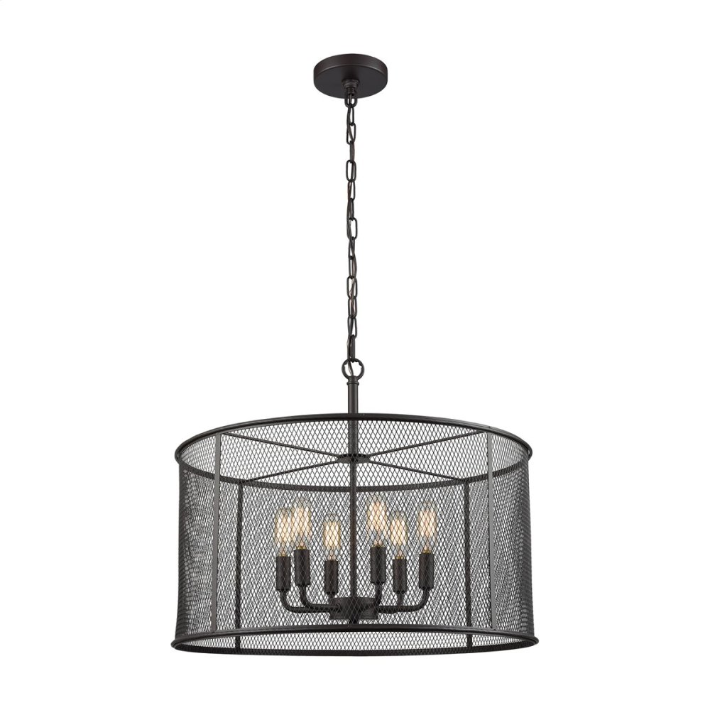 Williamsport 6-Light Chandelier in in Oil Rubbed Bronze with Black Metal Shade