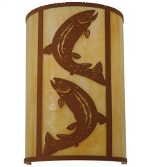 "12""W Leaping Trout Wall Sconce"