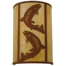 """12""""W Leaping Trout Wall Sconce"""