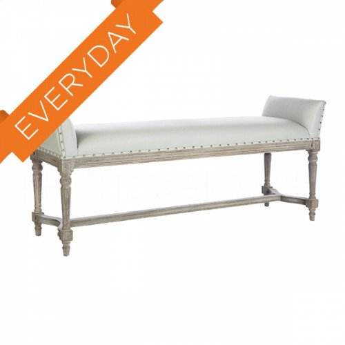 Simon Gray Leather Long Bench
