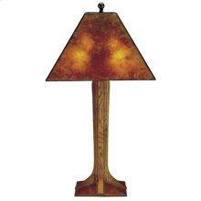Mica Shade, Cherry Corbel Base Table Lamp