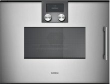Combi-microwave Oven 200 Series Full Glass Door In Gaggenau Metallic Left-hinged Controls On Top