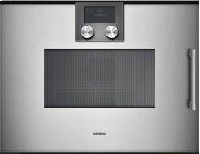 Combi-microwave Oven 200 Series Full Glass Door In Gaggenau Metallic Left-hinged Controls On Top