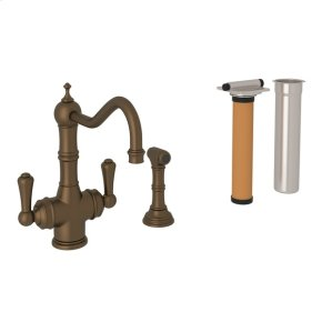 English Bronze Perrin & Rowe Edwardian Filtration 2-Lever Kitchen Faucet With Sidespray with Traditional Metal Lever