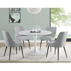 Steve Silver Co.Colfax 5 Piece White Base/White Marble Top Dining(Table & 4 Side Chairs)