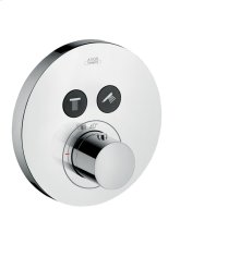 Chrome Thermostat for concealed installation round for 2 functions