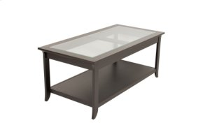 Coffee Table, Solid Wood and Veneer In A Black Finish and Glass Top