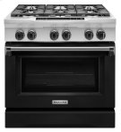 KitchenAid® 36-Inch 6-Burner Dual Fuel Freestanding Range, Commercial-Style - Imperial Black Product Image