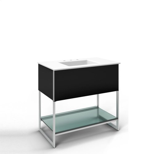 """Adorn 36-1/4"""" X 34-3/4"""" X 21"""" Vanity In Black With Slow-close Plumbing Drawer, Towel Bar On Right Side, Legs In Brushed Aluminum and 37"""" Stone Vanity Top In Quartz White With Integrated Center Mount Sink and 8"""" Widespread Faucet Holes"""