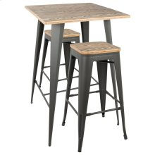 Oregon Pub Set - Grey Metal, Bamboo