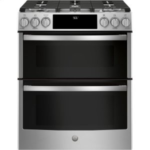 "GE Profile30"" Smart Slide-In Front-Control Gas Double Oven Convection Range"