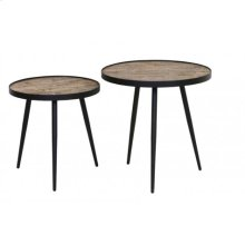 Side table S/2 48x47+ 54x52 cm PUICO mix wood-dark brown