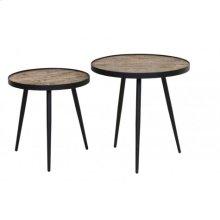 Side table S/2 48x47+ 54x52 cm PUICO mix wood-dark brown