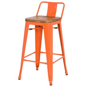 Metropolis Low Back Counter Stool Wood Seat, Orange