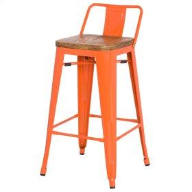 Metropolis Low Back Counter Stool Wood Seat, Orange