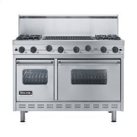 "Stainless Steel 48"" Sealed Burner Range - VGIC (48"" wide, four burners 24"" wide char-grill)"