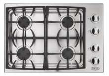 "Brushed Stainless Steel 30"" Drop-in Cooktop"