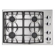 """Brushed Stainless Steel 30"""" Drop-in Cooktop"""