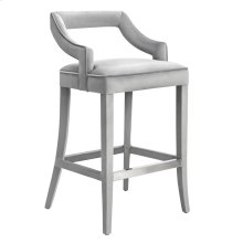Tiffany Grey Velvet Bar Stool