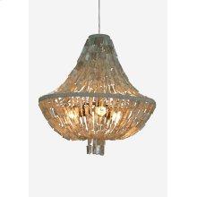 "(LS) 32""H Teardrop shape capiz strand chandelier - Large -Grey ..Dimension: 31x31x32"
