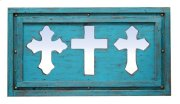 3 Turquoise Mirror Crosses Product Image