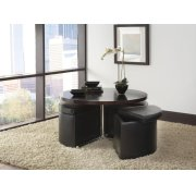Round Glass Table, W/4 Black Ottomans Product Image