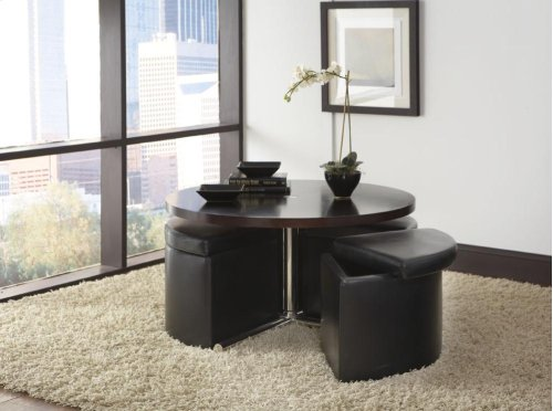 Round Wood Table, W/4 Black Ottomans