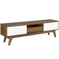 """Envision 59"""" TV Stand in Walnut White Product Image"""