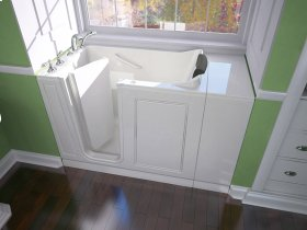 Luxury Series 28x48-inch Walk-in Tub Air Spa with Tub Faucet  American Standard - Linen