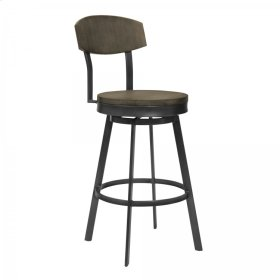"""Conway 30"""" Bar Height Barstool in Mineral Finish and Grey Walnut Seat"""