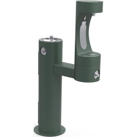 Elkay Outdoor ezH2O Bottle Filling Station Bi-Level Pedestal, Non-Filtered Non-Refrigerated Freeze Resistant Evergreen