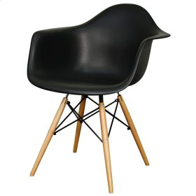 Carl Molded PP Arm Chair Maple Dowel Legs, Black