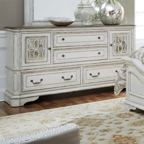 2 Mirrored Door 4 Drawer Dresser