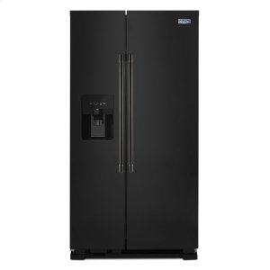36-Inch Wide Side-by-Side Refrigerator with Exterior Ice and Water Dispenser - 25 Cu. Ft. - BLACK