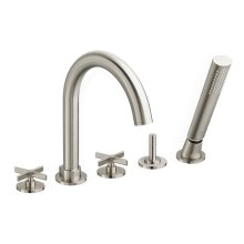 Percy Deck-Mounted Bathtub Faucet with Cross Handles - Brushed Nickel