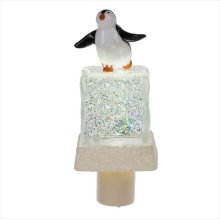 Penguin on Ice Cube Shimmer LED Night Light.