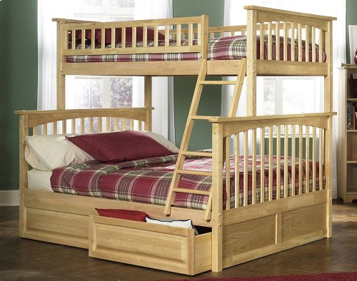 Columbia Bunk Bed Twin over Full with Raised Panel Bed Drawers in Natural