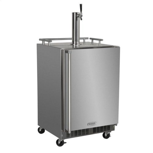 """24"""" Outdoor Single Tap Mobile Beer Dispenser with Stainless Steel Door - Solid Stainless Steel Door With Lock, Right Hinge"""