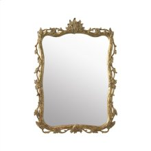 Hand-Carved Wooden Mirror with Burnished Gold Finish